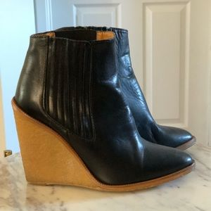 Black Leather Zara Boots with Rubber Wedge sz38